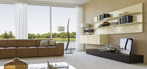 minimalistisch design wohnzimmer idee sofa regale gardinen - Designwohnzimmer