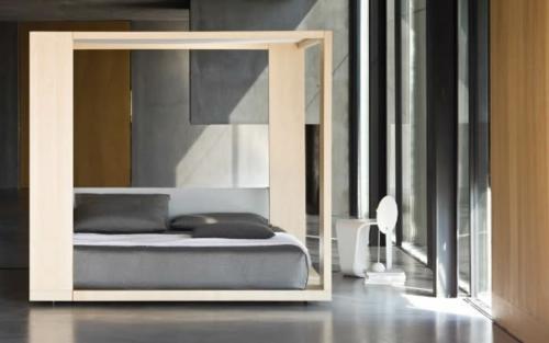 minimalistisches bett design schlafzimmer grau bettwäsche