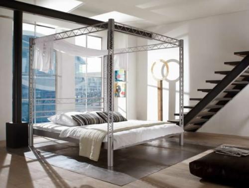 minimalistisches himmelbett design metall industrieller stil