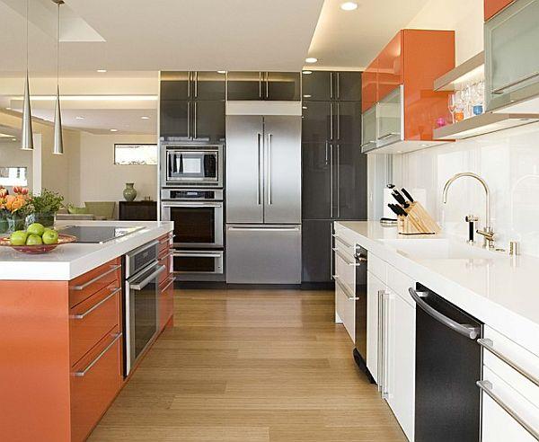 modern bunt küchenschrank orange farben weiß schwarz