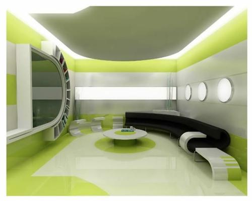 modern futuristisch grün beleuchtung indirekt sofa schwarz tisch