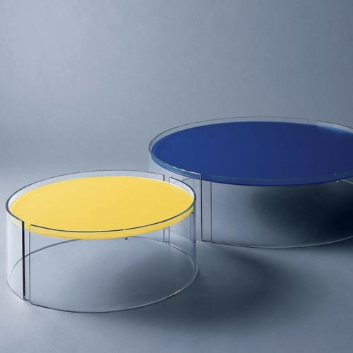 modern kaffeetische niedrig rund glas blau gelb innovativ