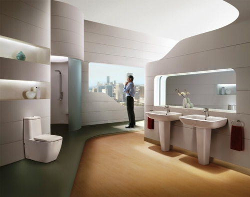 modern urban badezimmer design weiß platten abgehängt holz fußboden