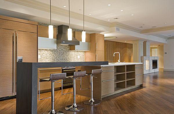moderne küche tischplatte stühle hängelampen opene regale