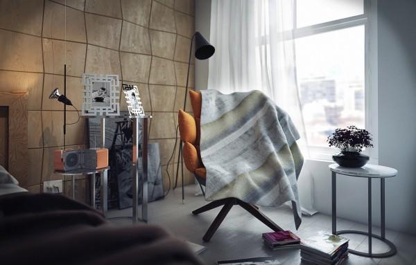 Gestreifte Tapeten Schlafzimmer : Contemporary Bedroom