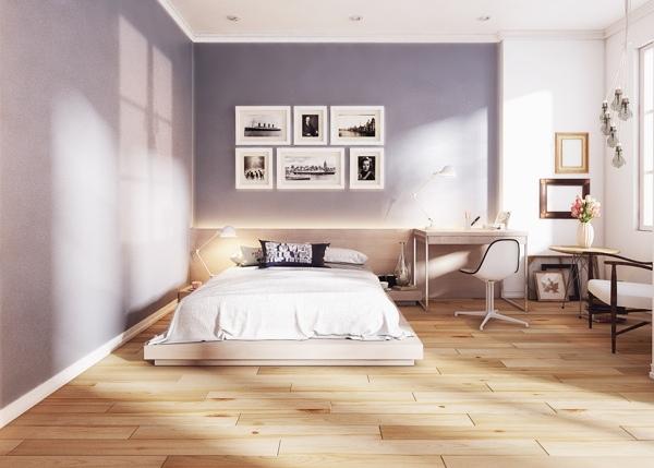 Moderne schlafzimmer pastell lila viele historische fotos