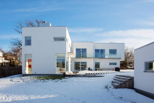 moderne schwedische villa fassade architektur