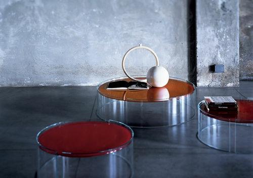 moderner couchtisch design rot tischplatte originell
