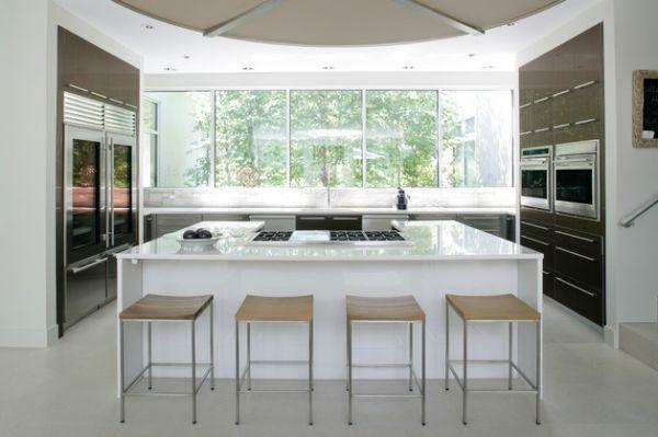 moderner kühlschrank mit glastür hocker weiß glänzend