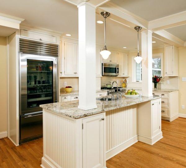 moderner kühlschrank mit glastür weiß einrichtung holz bodenbelag