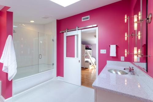modernes badezimmer rosa design duschkabine glas schiebetür