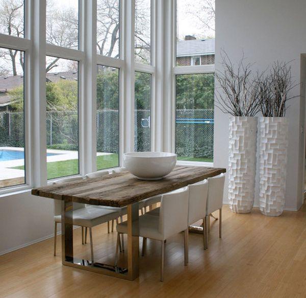 modernes esszimmer glas weiß bodenvasen muster
