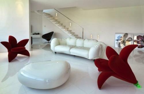 modernes interior design zu hause sessel rot blume samt