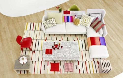 modernes wohnzimmer muster bunt verspielt streifen teppich sofas