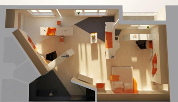 modulares haus interior aus der vogelperspektive