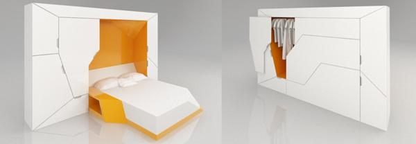 modulares haus interior großes bett für zwei gelb