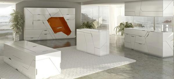 modulares haus interior minimalistisch weiß