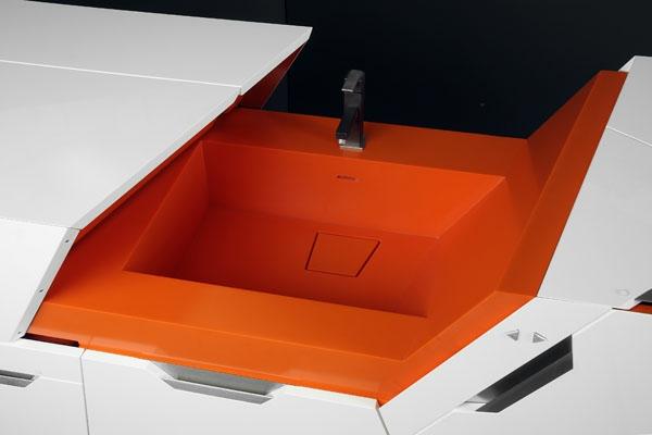modulares haus interior ultra moderne spüle in weiß und dunkle orange