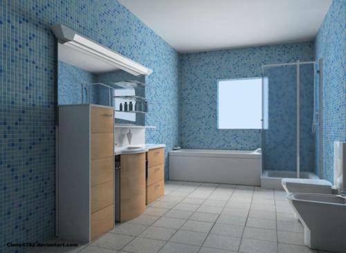 Badezimmer » Badezimmer Dekorieren Blau - Tausende Bilder Von ... Badezimmer Grau Mit Mosaik Blau