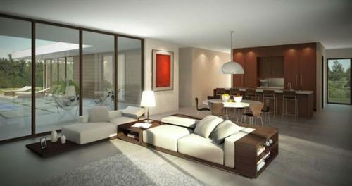 natürliches licht schiebetüren fenster sofa offene regale bücher