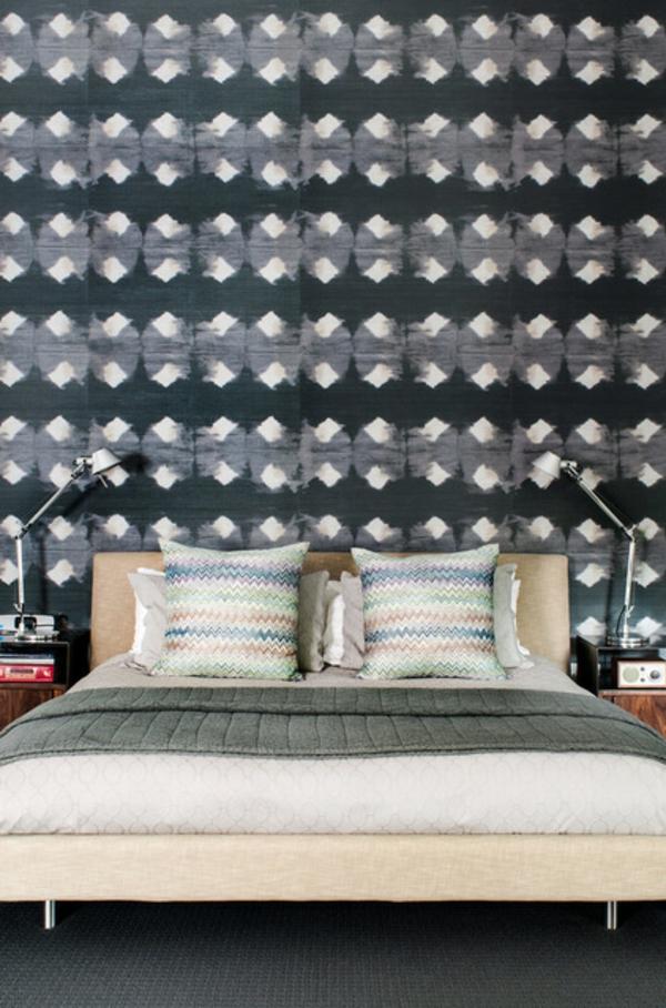 neues haus bunte zigzag muster und pastelfarben im schlafzimmer