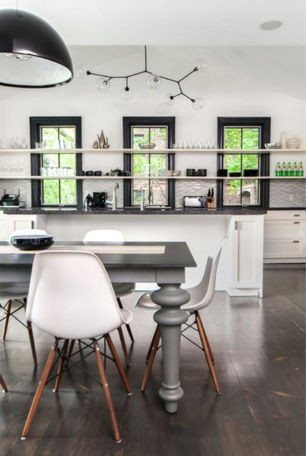 neues haus zeitgenössisches küchen design in weiß offene regale