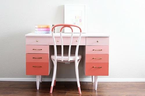 ombre stil möbel ideen aprikosen farbener schreibtisch