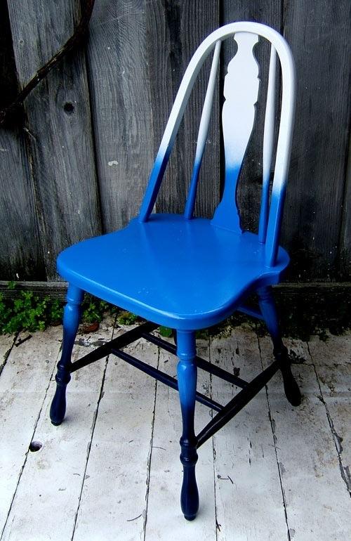 ombre möbel ideen eleganter blauer stuhl