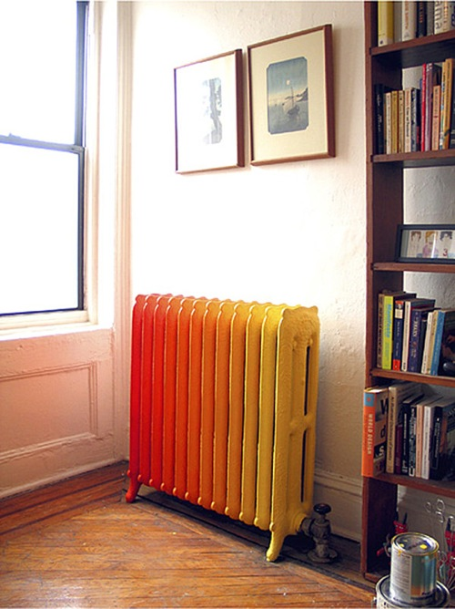 ombre stil möbel ideen heizung in orange und gelb