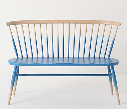 ombre stil möbel ideen sitzbank in blau und gelb