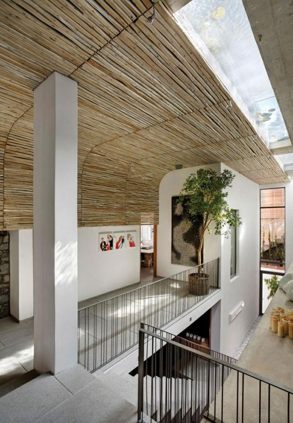 opulente moderne residenz treppen stufen geländer pflanzen