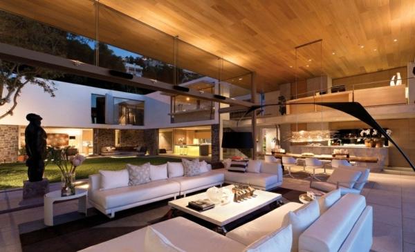 opulente moderne residenz wohnbereich weiße einrichtung