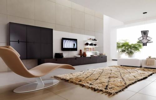 orange ergonomische liege teppich schwarz eingebaut schränke