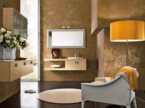 orange lampenschirm desgin badezimmer rund teppich wandspiegel
