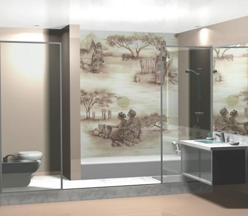 orientalisch wandmalerei gestaltung badezimmer idee waschbecken