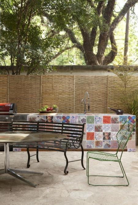 patchwork fliesen designs arbeitsplatte küche draußen