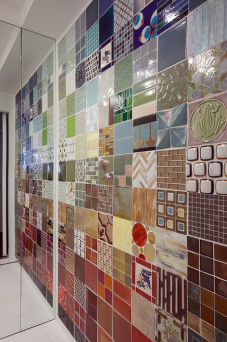 Patchwork Fliesen Designs Bunt Wandgestaltung Badezimmer