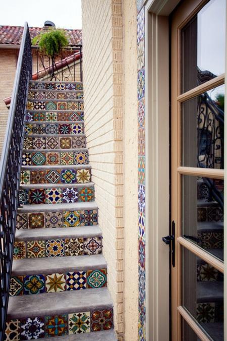 patchwork fliesen designs wandgestaltung treppen stufen