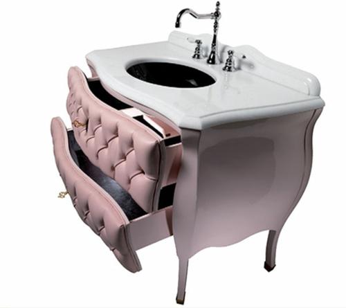 pink vanity design rosa schublade waschtisch waschbecken