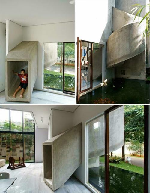 Wohnhaus modern offen Beton Wände Teppichboden Wohnlandschaft Sitzsofa