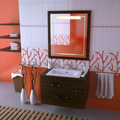 rot badezimmer fliesen wandgestaltung holz spiegelrahmen waschbecken