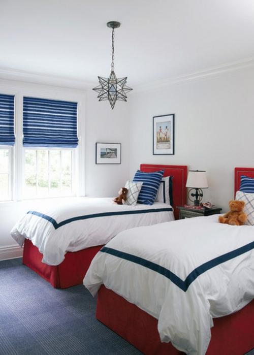 Nice Schlafzimmer Blau Rot #5: Interior Designs In Rot, Weiß Und Blauschlafzimmer Einzelbetten Interessant