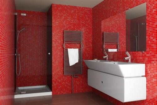 rot mosaik wandfliesen weiß waschbecken dusche