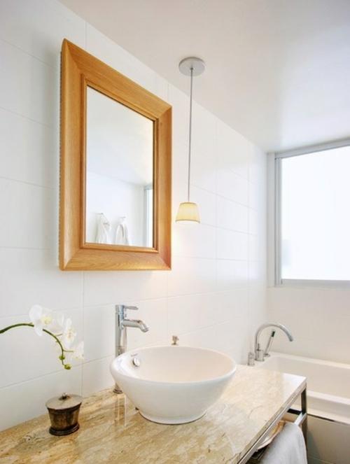 ruhiges cooles haus design beton spiegel rahmen holz badezimmer