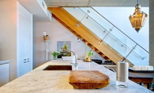 ruhiges cooles haus design küche marmor look arbeitsfläche