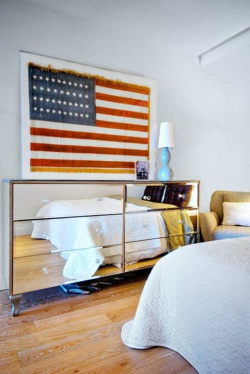 ruhiges cooles haus design schlafzimmer amerikanisch stil flagge