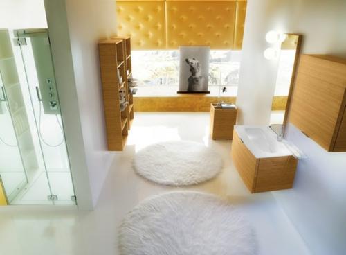 rund weich teppich weiß badezimmer leder gelb sichtschutz
