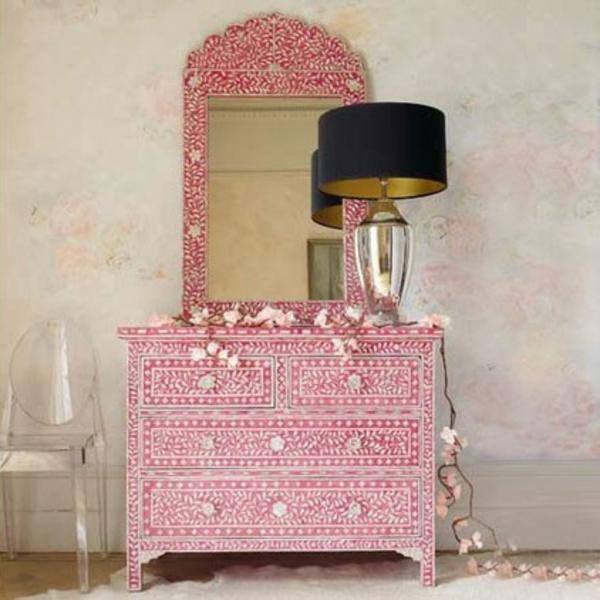 südsee stil für ihr haus kommode rosa und  perlmutt täfelung