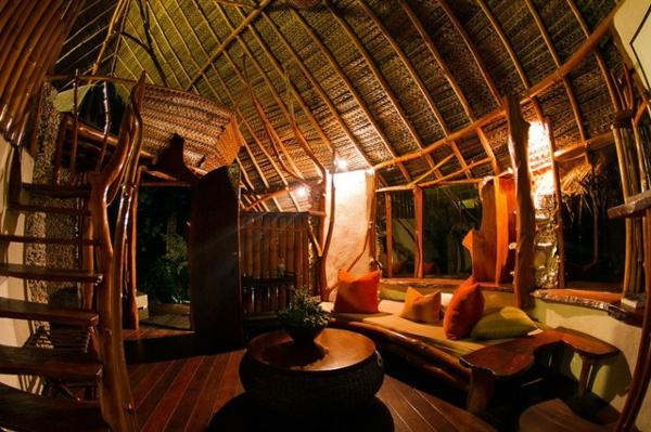 südsee stil für ihr haus rundes wohnzimmer viel bambus geflochtene decke