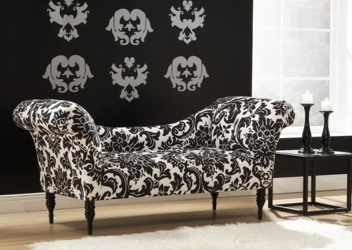 attraktive couch designs blumen muster schwarz weiß